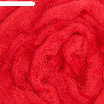 Шерсть для валяния полутонкая (0042, красный), 100 гр