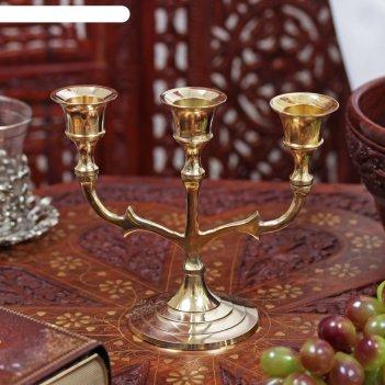 Подсвечник латунь на 3 свечи трезубец 13,5х15,2х7 см