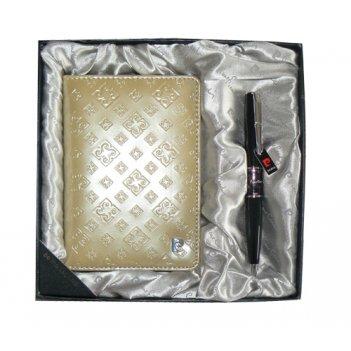 Набор: обложка для паспорта и ручка. ручка шариковая, латунь