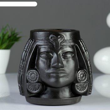 Фигурное кашпо клеопатра, 16x17x15 см, черный