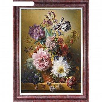 Принт для вышивки лентами на габардине «вальс цветов»
