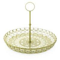 Чаша для фруктов с металлической стойкой, диаметр 32 см, цвет зеленый, сте
