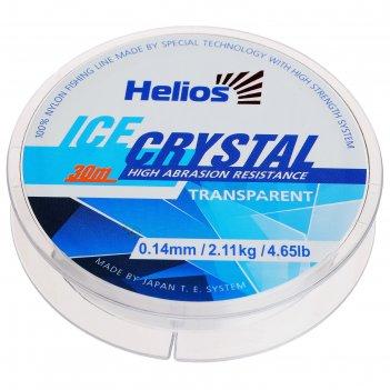 Леска helios ice crystal nylon transparent 0,14мм / 30м
