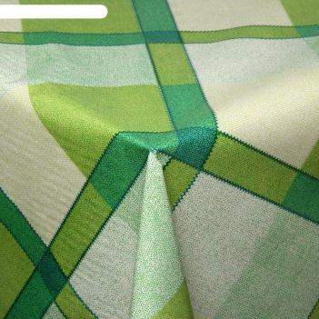Клеенка столовая на ткани клетка зеленая, рулон 25 метров