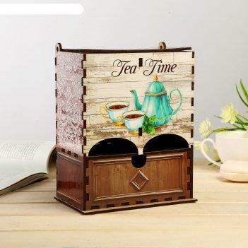 Чайный домик двойной с ящиком время пить чай 20х9,5х15,5 см
