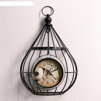 Часы настенные. серия лофт «птичка в клетке», d=12 см, 1аа, чёрные, 13х26х