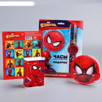 Подарочный набор, человек-паук. копилка, часы, кошелек, наклейки, ланч-бок