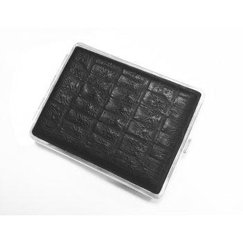 Портсигар s.quire, сталь+натуральная кожа, чёрный цвет с рисунком, 74*95*1