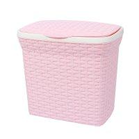 Контейнер для стирального порошка 10 л ротанг, цвет розовый