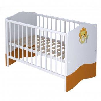 Кроватка детская polini kids basic «джунгли», 140 х 70 см, цвет белый-оран