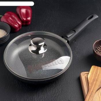 Сковорода гранит brilliant black 24см съемн. ручка, стекл. крышка