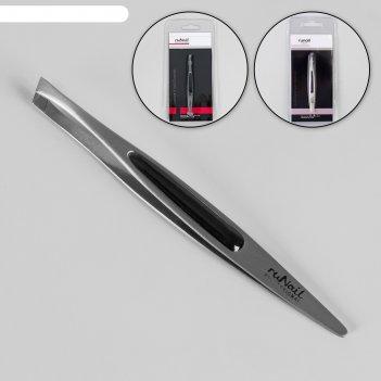Пинцет скошенный, широкий, 9 см, цвет серебристый/чёрный, ru-0140