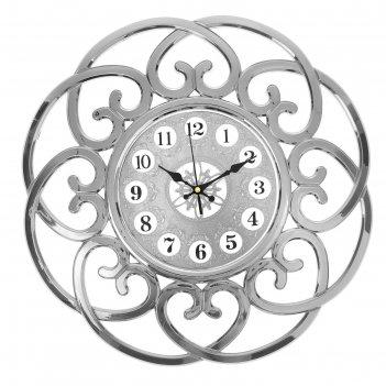 Часы настенные серия жанна, рама завитки сердцами, серебро, цифры в кружоч