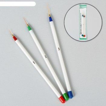 Набор кистей для дизайна ногтей «волос», 3 шт, 18 см, цвет белый