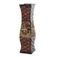 Ваза керамика напольная 60 см жемчужный пояс коричневая