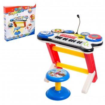 Синтезатор музыкальный микс, с микрофоном и стульчиком, звуковые эффекты,