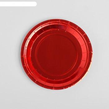 Тарелка бумажная, набор 6 шт., цвет красный