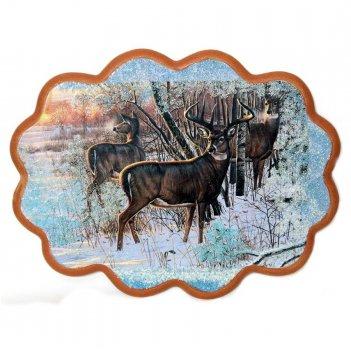 Панно олени на опушке леса №3 (34х26 см)