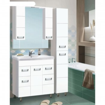 Зеркало-шкаф флора 800 т со светом белое арт.1255