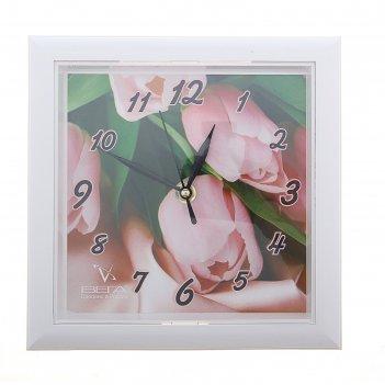 Часы настенные квадратные тюльпаны
