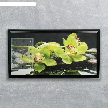 Часы-картина настенные прямоугольные зеленые орхидеи, 50х100 см