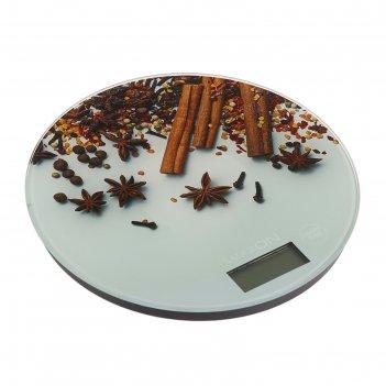 Весы кухонные luazon lvk-701, электронные, до 7 кг, рисунок корица