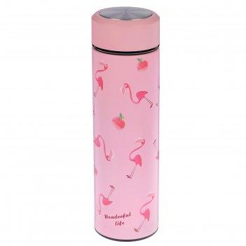 Термос фламинго с ситечком, 500 мл, 304 сталь, сохраняет тепло 8 ч, 6.5х22