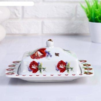 Маслёнка «цветы», 20.5 х 13.5 х 9 см, керамика
