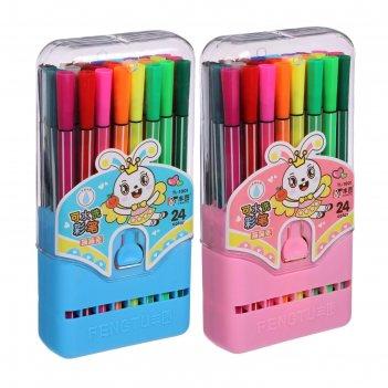 Фломастеры, 24 цвета, в пластиковом пенале, вентилируемый колпачок, «полос