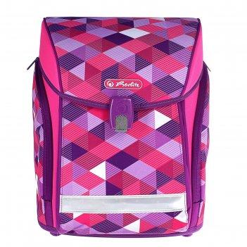 Ранец на замке herlitz midi new, 38 х 32 х 26 см, для девочки, pink cubes