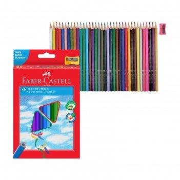Карандаши 36цв faber-castell eco трехгран. с точилкой, картон/короб 120536