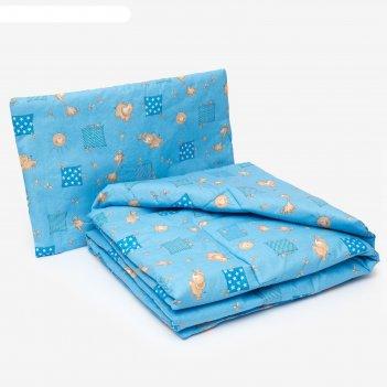 Комплект в кроватку для мальчика (одеяло 110*140 см, подушка 40*60 см), цв