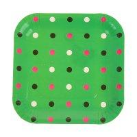 Набор бумажных тарелок цветной горох зеленый цвет, (6 шт), 18 см