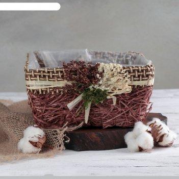 Кашпо плетеное букет квадрат, 20х20х10 см, цвет коричневый