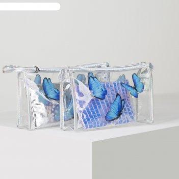 Набор косметичек 2/1 бабочки, 25,5*7*16 , отдел на молнии, синий