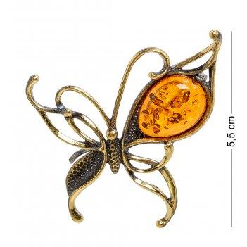 Am-2080 брошь бабочка грация (латунь, янтарь)