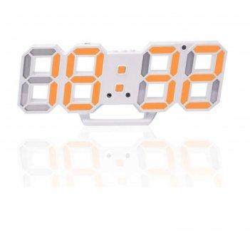 Часы-будильник электронные цифры, цифры оранжевые, с термометром, белые, 2