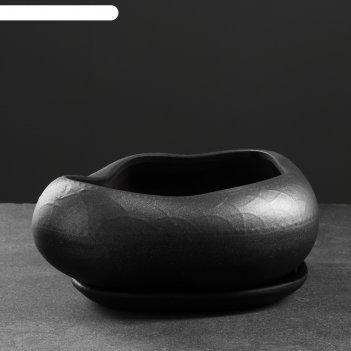 Фигурное кашпо бонсай большой 24х28см , черный с серебром
