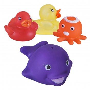 Набор игрушек для ванны «весёлое купание», меняют цвет, 4 шт.