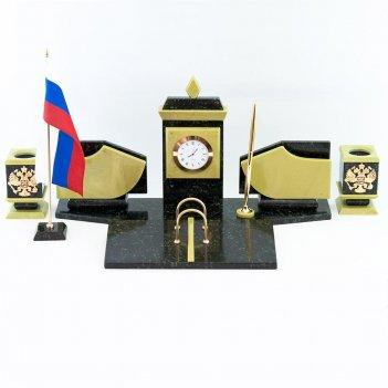 Настольный набор с гербом и флагом россии офиокальцит