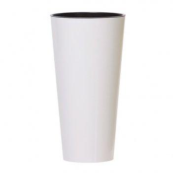 Кашпо для цветов prosperplast tubus slim shine 27+15 л, белый