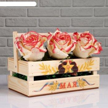 Ящик-кашпо подарочный ко дню победы 9 мая, родина-мать, ручка деревянная (