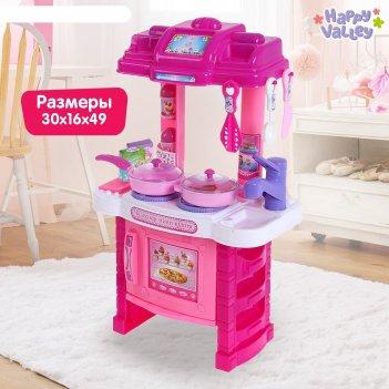 Игровой набор кухня хозяюшки с посудой, световые эффекты, работает от бата