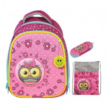 Рюкзак каркасный luris томас 3d 38x30x16 см + мешок для обуви, для девочки