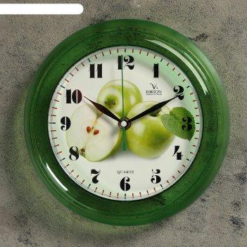 Часы настенные круглые яблоки, зеленые