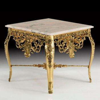 Стол квадратный наполеон в бронзовой оправе с мраморной столешницей