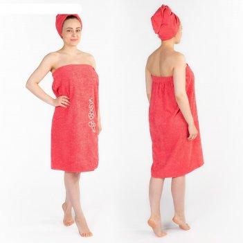 Набор д/сауны махр. жен. (килт(юбка)(80х150+-2)+ чалма), цвет коралловый