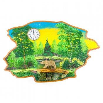 Часы с картиной медведь идет лето 50х32 см