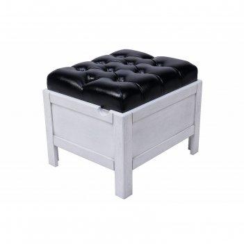 Банкетка-сундук мал.530 х 430 х 450 серебряный дуб / кожа черная