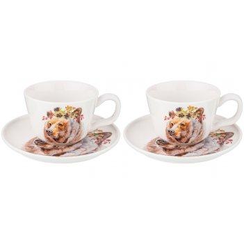 Набор чайных пар на 2 персоны лесная сказка медведь, 4пр. 230 мл